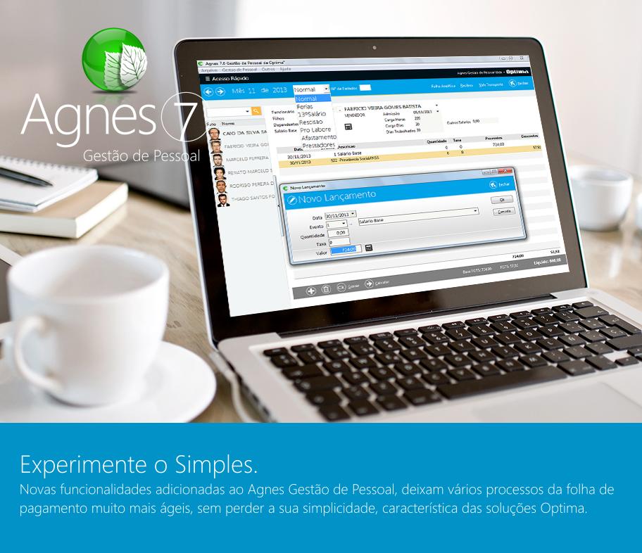 Folha de Pagamento Agnes 7.0 da Optima Software, programa para gestão de pessoal