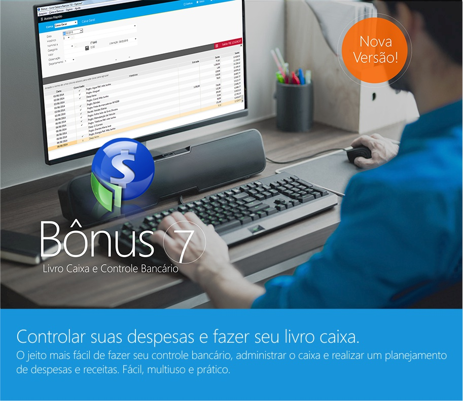 Bônus 7.0 Livro Caixa e Controle Bancário com controle de despesas e receitas separadas por categorias